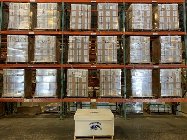 One half pallet of Arctic Express Gel Packs can equal up to 18 pallets of traditional gel packs